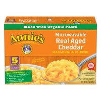 Annies Macaroni & Cheese, Real Aged Cheddar, Microwavable, Single Servings, 5 Ounce