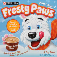 Frosty Paws Dog Treats, Frozen, Peanut Butter Flavor, 4 Pack, 4 Ounce
