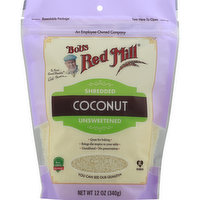 Bobs Red Mill Coconut, Unsweetened, Shredded, 12 Ounce