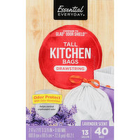 Essential Everyday Tall Kitchen Bags, Drawstring, Odor Protect, Lavender Scent, 13 Gallon, 40 Each