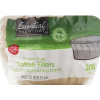 Essential Everyday Coffee Filters, Basket Style, Natural Unbleached Paper, 8-12 Cup, 200 Each
