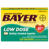 Bayer Aspirin, Low Dose, 81 mg, Coated Tablets, 120 Each