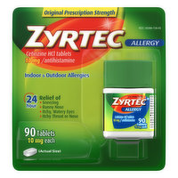 Zyrtec Allergy, Original Prescription Strength, 10 mg, Tablets, 90 Each