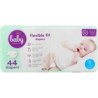 Baby Basics Diapers, 1 (8-14 lb), Flexible Fit, 44 Each
