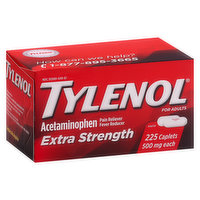 Tylenol Acetaminophen, Extra Strength, 500 mg, for Adults, Caplets, 225 Each