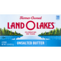 Land O Lakes Butter, Unsalted, 4 Each