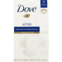 Dove Beauty Bar, White, 6 Each