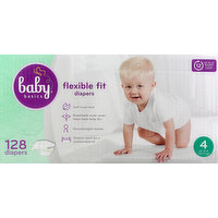 Baby Basics Diapers, Flexible Fit, 4 (22-37 lb), 128 Each