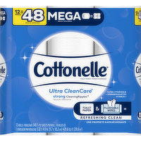 Cottonelle Toilet Paper, Mega Roll, 1-Ply, 12 Each