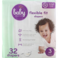 Baby Basics Diapers, 3 (16-28 lb), Flexible Fit, 32 Each