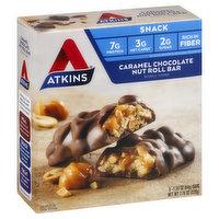 Atkins Snack Bar, Caramel Chocolate Nut Roll, 5 Each