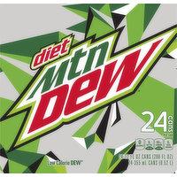 Mtn Dew Soda, Diet, 24 Each