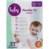 Baby Basics Diapers, 2 (12-18 lb), Flexible Fit, 37 Each