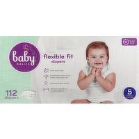 Baby Basics Diapers, Flexible Fit, 5 (27 lb & Over), 112 Each