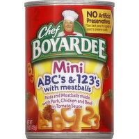 Chef Boyardee ABC's & 123's, Mini, with Meatballs, 15 Ounce
