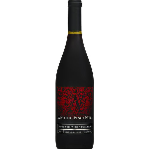 Pinot Noir with a dark side. Soft & indulgent. Apothic - Inspired by the Apotheca, a mysterious place where some of the earliest wine was blended and stored, Apothic Wines offers a truly unique wine experience. Pinot Noir - Pinot Noir has been described as the minx of the vineyard, an elusive grape that captivates the senses. Apothic Pinot Noir features layers of vanilla, dark cherry and raspberry and leaves you with a soft, luscious finish. www.apothic.com. Bottled by Apothic Wines, Modesto, CA.
