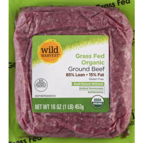 Beef raised without: added hormones; antibiotics. Gluten free. US inspected and passed by Department of Agriculture. USDA organic. Live Free with Wild Harvest: Wild Harvest beef is a complete selection of products that are sourced from responsible ranchers and raised without antibiotics or added hormones. Our ranchers take pride in producing the highest quality, best tasting products flavored by nature. Wild Harvest beef is pure and simple and supports your family's healthy and active lifestyle. To learn more about Wild Harvest foods and for more recipes, please visit www.wildharvestorganic.com. Contact us at 1-877-932-7948, or www.supervalu-ourownbrands.com. Product of USA.