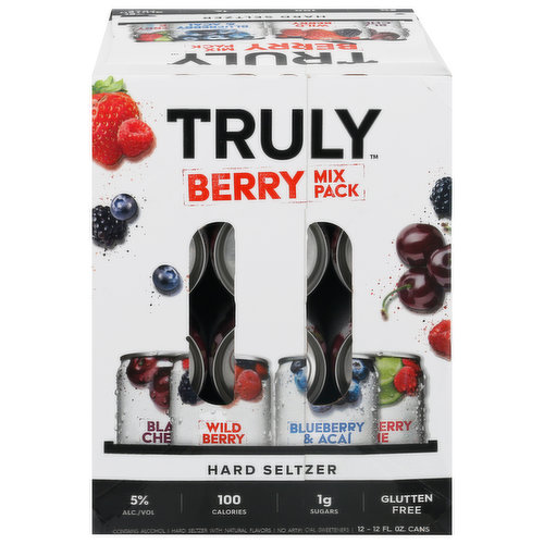 Black Berry. Wild Berry. Blueberry & Acai. Raspberry Lime. Hard Seltzer with natural flavors. 100 calories. 1 g sugars. Gluten free. No artificial sweeteners. Please drink responsibly. 5% alc/vol. 10