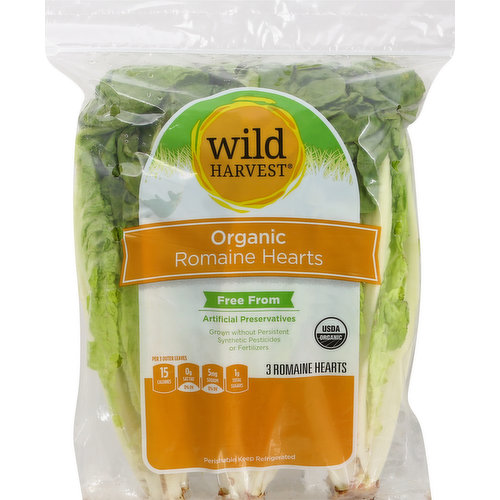 Per 3 Outer Leaves:15 calories; 0 g sat fat (0% DV); 5 mg sodium (0% DV); 1 g total sugars. USDA Organic. Certified Organic by CCOF. Free from artificial preservatives. Grown without persistent synthetic pesticides or fertilizers. 100% quality guaranteed. Like it or let us make it right. That's our quality promise. 877-932-7948; mywildharvest.com. mywildharvest.com. To learn more about Wild Harvest products, including our full line of organic products, and for more recipes. Please visit www.mywildharvest.com. Produce of Mexico.