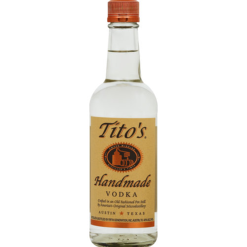 Award winning. Distilled 6 times. Crafted in an old fashioned pot still by America's original microdistillery. Austin, Texas. Designed to be savored. Unanimous double gold medal winner of the World Spirits Competition! It's in the bottle, so enjoy! - Tito. Gluten-free. No sugar or gelatin added. Distilled from 100% corn. titosvodka.com. 40% alc./vol. 80 proof. Distilled & bottled by Fifth Generation, Inc. Austin, TX.