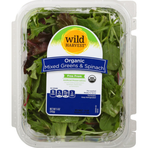 Per 1 Container: 35 calories; 0 g sat fat (0% DV); 135 mg sodium (6% DV); 1 g total sugars. USDA Organic. Certified Organic by CCOF. Pre-washed. Ready to serve. Free from: artificial preservatives; grown without persistent; synthetic pesticides or fertilizers. Thoroughly washed. Ingredients may vary. mywildharvest.com. Please recycle. Produce of USA.