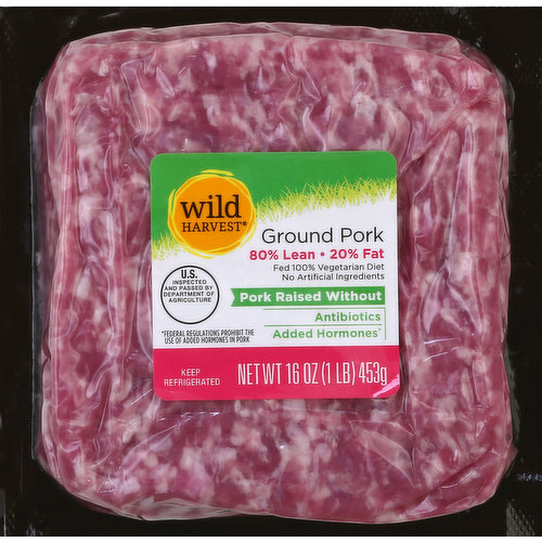 20% fat. Fed 100% vegetarian diet. No artificial ingredients. Pork raised without antibiotics; added hormones (Federal regulations prohibit the use of added hormones in pork). US inspected and passed by Department of Agriculture. 80% lean/20% fat. Contact us at 1-877-932-7948, or www.supervalu-ourownbrands.com. Gluten free. Live Free with Wild Harvest: Wild Harvest pork is a complete selection of products that are sourced from responsible farmers and raised without antibiotics and added hormones (Federal regulations prohibit the use of added hormones in pork). Fed a 100% vegetarian diet, no artificial ingredients, and minimally processed, Wild Harvest pork is pure and simple and supports your family's active lifestyle.