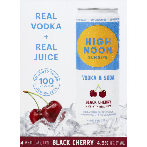 Sparkling water & natural flavors. Made with real juice. Vodka with real fruit juice. Real vodka + real juice. 100 calories: No added sugar; Gluten free. High Noon Sun Sips: Made with real vodka, real fruit juice, and sparkling water. The easy-drinking, always socializing, great tasting, sun-toasting, blue sky celebrating, memory-making - awesomeness in a can - cocktail. Get out and enjoy!  Average Analysis: Per 12 fl oz. Calories: 100. Carbohydrates: 4.8 g. Protein: 0. Fat: 0. Try Out Other Flavors: Grapefruit; Watermelon, Pineapple. www.highnoonspirits.com. 4.5% alc. by vol. Produced by: High Noon Spirits Company Memphis, TN.