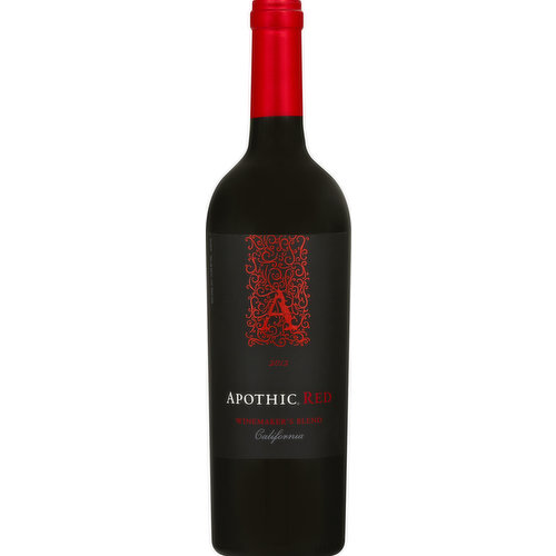 Inspired by the Apotheca, a mysterious place where wine was blended and stored in 13th century Europe, Apothic Red offers a truly unique win experience. A masterful blend of rich zinfandel, smooth merlot, flavorful Syrah and bold cabernet sauvignon creates layers of dark red fruit complemented by hints of vanilla and mocha. www.apothic.com. Alc. 13.5% by vol. Bottle by Apothic Wines, Modesto, CA.