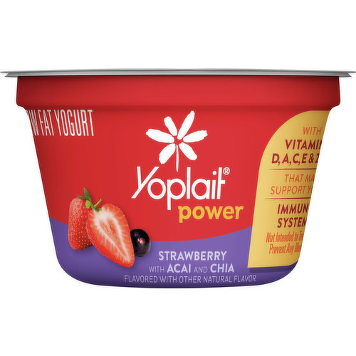 Strawberry with acai and chia. Flavored with other natural flavor. Low fat. Gluten free. With vitamins D, A, C, E & zinc that may support your immune system. Not intended to treat or prevent any illness. Contains bioengineered food ingredients. Learn more at Ask.GeneralMills.com. Contains live and active cultures. Grade A. www.Yoplait.com. how2recycle.info. Comments? Save entire package. Call 1-800-967-5248 www.Yoplait.com.