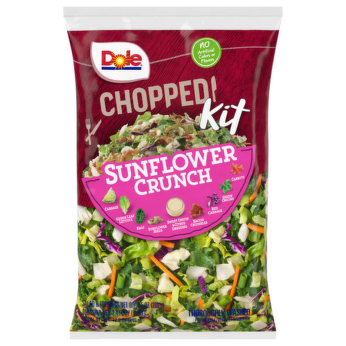 Thoroughly washed. Sunflower Crunch combines green leaf lettuce, cabbage, and kale with bacon, sunflower seeds, carrots, green onions and Dole's Sweet Onion and Citrus Dressing for a true summer delight.