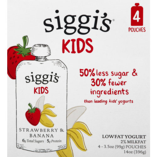 6 g total sugars. 5 g protein. Certified Gluten-free.  2% milkfat. 50% less sugar & 30% fewer ingredients than leading kids' yogurts. On average, Siggi's pouches have 7.5 ingredients, 1.7 g sugar per oz. compared to the leading kids' yogurt average of 11.3 ingredients, 4 g sugar per oz. All natural. No high fructose. No artificial sweetener. No gelatin. No artificial coloring. No preservatives. No juice or concentrates. No preservatives. No rBST (no significant difference has been shown between milk derived from rBST treated and non-rBST treated cows).  Grade A.