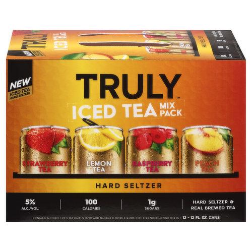 Strawberry tea, lemon tea, raspberry tea, peach tea. Iced tea hard seltzer with natural flavors. 100 calories. 1 g sugar. Gluten free. New Iced tea hard seltzer. Hard seltzer & real brewed tea. No artificial sweeteners. Please drink responsibly. 5% alc./vol. 10