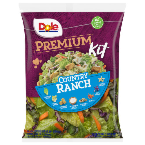 Thoroughly washed. Crisp iceberg and green lettuces combined with cornbread croutons, sunflower seeds, cheddar cheese and dole's country ranch buttermilk dressing make a refreshing salad.