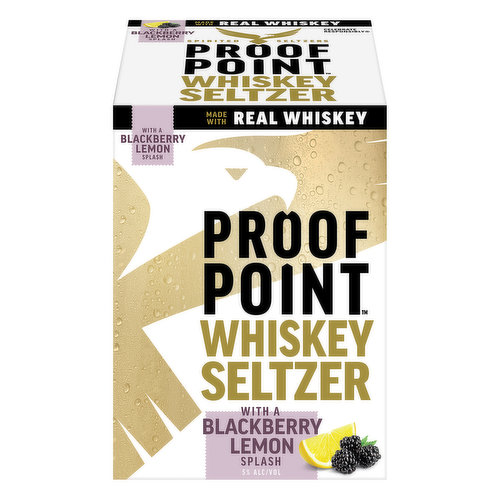 Whiskey seltzer with a grapefruit splash. Whiskey with sparkling water and natural flavors. 100 calories. Zero sugar. Made with real whiskey. Made with real barrel-aged whiskey. A splash of real juice. Spirited seltzers. proofpointseltzer.com. For consumer questions call 1-800-645-5376. Please do not litter. Please recycle. 5% Alc/Vol. 10 Canned by Molson Coors Beverage Co. Waunakee, WI.