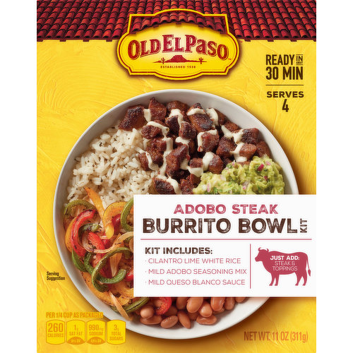 Per 1/4 Cup As Packaged: 260 Calories; 1 g sat fat (6%DV); 990 mg sodium (43%DV); 3 g total sugars. Contains bioengineered food ingredients. Established 1938. Serves 4. Kit Including: Cilantro lime white rice. Mild adobo seasoning mix. Mild queso blanco sauce. Just Add: Steak & toppings. www.OldELPaso.com. Ask.GeneralMills.com. how2recycle.info. Questions or comments? call 1-800-300-8664 information from the package will be helpful. To get inspired, visit us at: www.OldELPaso.com. Learn more at Ask.GeneralMills.com. Box Tops For Education: No more clipping, Scan your receipt. See how at btfe.com. how2recycle.info.