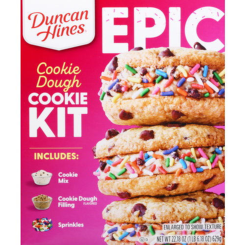 Includes: Cookie mix, Cookie dough flavored filling. Sprinkles. www.duncanhines.com. how2recycle.info.  SmartLabel: Scan or call 1-800-362-9834 for more food information. Questions or comments, visit us at www.duncanhines.com or call 1-800-362-9834. Find this recipe on duncangines.com. Also try Epic salted caramel artificial flavored brownie kit. Epic fruit pebbles natural and artificial flavored cake kit.