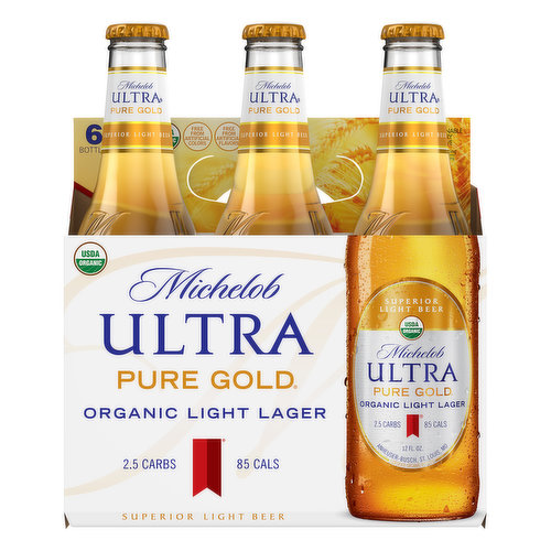 Superior light beer. Free from artificial flavors. 2.5 carbs. 85 cals. Per 12 fl. oz. - Average Analysis: Calories, 85. Carbohydrates, 2.5 g. Protein, 0.5 g. Fat, 0.0 g. USDA Organic. Certified Organic by OTCO. Free from artificial colors. We created Michelob Ultra Pure Gold with intention. It's Simple: With Michelob Ultra Pure Gold, you get the pure refreshing taste you enjoy, with organic ingredients sourced from the finest farms in the country. Enjoy responsibly. TapIntoYourBeer.com. www.michelobultra.com. Thirsty for more info? TapIntoYourBeer.com. Questions/Comments Call: 1-800-342-5283 www.michelobultra.com. Sustainable Forestry Initiative: Certified sourcing. www.sfiprogram.org. We support the Sustainable Forestry Initiative by obtaining the packaging materials used in this carrier from certified sources, because we believe in managing our forest for future generations. Please recycle.