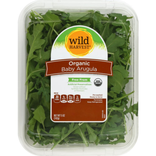 Free from: artificial preservatives. Grown without synthetic pesticides or fertilizers. USDA organic. Pre-washed. Ready to serve. Per 3 oz: 20 calories; 0 g sat fat (0% DV); 25 mg sodium (1% DV); 2 g total sugars. Certified organic by CCOF. Thoroughly washed. mywildharvest.com. Please recycle. Produce of USA.