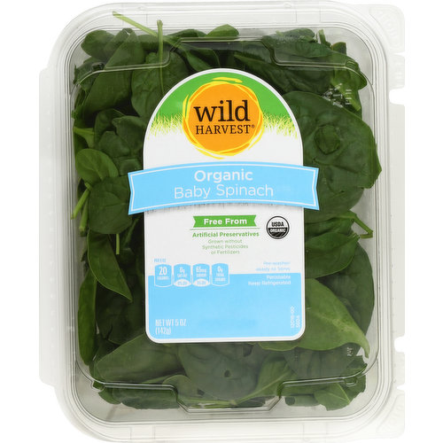 Free from: artificial preservatives. Grown without synthetic pesticides or fertilizers. USDA organic. Pre-washed. Ready to serve. Per 3 oz: 20 calories; 0 g sat fat (0% DV); 65 mg sodium (3% DV); 0 g total sugars. Certified organic by CCOF. Thoroughly washed. mywildharvest.com. Please recycle. Produce of USA.