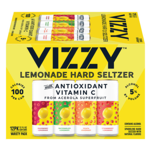 Raspberry lemonade. Watermelon lemonade. Peach lemonade. Strawberry lemonade. Sparkling hard seltzer with natural flavors. 100 calories per can. Certified gluten-free. gfco.org. With antioxidant vitamin C from acerola superfruit. Celebrate responsibly. vizzyhardseltzer.com. For consumer questions, Call: 1-800-645-5376; vizzyhardseltzer.com. Please recycle. Please do not litter. 5% alcohol by volume. 10