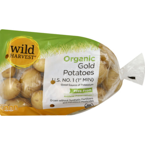 US No. 1 (1 inch min). Good source of potassium. Free From: artificial preservatives. Grown without synthetic fertilizers and persistent pesticides. Per 1 Medium Potato: 110 calories; 0 g sat fat (0% DV); 0 mg sodium (0% DV); 1 g sugars. USDA organic. Live Free with Wild Harvest: Wild Harvest is a complete selection of products that are free from more than 100 artificial preservatives, flavors, colors, sweeteners and additional undesirable ingredients. Our products are pure and simple because they're flavored and colored by nature and created to support your family's healthy and active lifestyle. People of all ages love the taste of Wild Harvest foods. To learn more about Wild Harvest products, including our full line of organic products, and for more recipes, please visit www.wildharvestorganic.com. Certified organic by California Certified Organic Farmers. 100% quality guaranteed. Like it or let us make it right. That's our quality promise. mywildharvest.com. Please recycle. Product of USA.