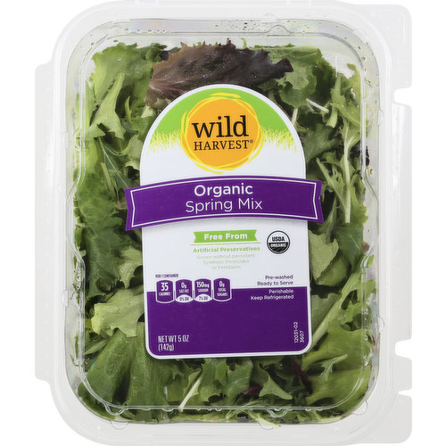 Per 1 Container: 35 calories 0 g sat fat (0% DV); 150 mg sodium (7% DV); 0 g total sugars. USDA Organic. Certified Organic By CCOF. Free from: Artificial preservatives. Grown without persistent synthetic pesticides or Fertilizers.  Pre-washed. Ready to serve. Thoroughly washed. mywildharvest.com. Please recycle. Produce of USA.