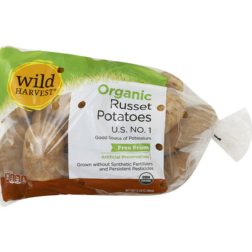 US No. 1. Good source of potassium. Free from: artificial preservatives. Grown without synthetic fertilizers and persistent pesticides. USDA Organic. Per 1 Medium Potato: 110 calories; 0 g sat fat (0% DV); 0 mg sodium (0% DV); 1 g sugars. Live free with Wild Harvest. Wild Harvest is a complete selection of products that are free from more than 100 artificial preservatives, flavors, colors, sweeteners and additional undesirable ingredients. Our products are pure and simple because they're flavored and colored by nature and created to support your family's healthy and active lifestyle. People of all ages love the taste of Wild Harvest foods. To learn more about Wild Harvest products, including our full line of organic products, and for more recipes, please visit www.wildharvestorganic.com. Certified organic by California Certified Organic Farmers. 100% Quality Guaranteed. Like it or let us make it right. That's our quality promise. www.mywildharvest.com. Please recycle. Product of USA.