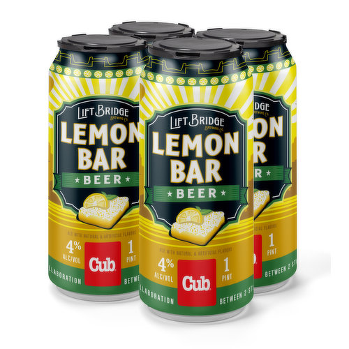 Inspired by Cub's famous Lemon Bars, this light-bodied Kolsch has natural lemon flavor that makes it the perfect zingy summer beer. Created in partnership with Lift Bridge Brewing Co., you'll only be able to find it at Cub.  Sold in four 16oz cans.
