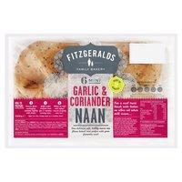 Fitzgeralds Family Bakery 6 Mini Garlic & Coriander Naan 210g