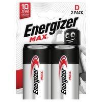 Energizer Max D Batteries, Alkaline, 2 Pack