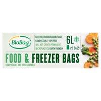 BioBag 20 Compostable and Biodegradable Food & Freezer Bags 6L