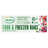 BioBag 25 Compostable and Biodegradable Food & Freezer Bags 4L