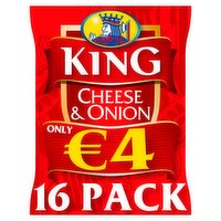 King Cheese & Onion Multipack Crisps 16 Pack Flashed €4 400g