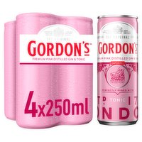 Gordon's Premium Pink Gin & Tonic 4 x 250ml Ready to Drink Premix Can Multipack
